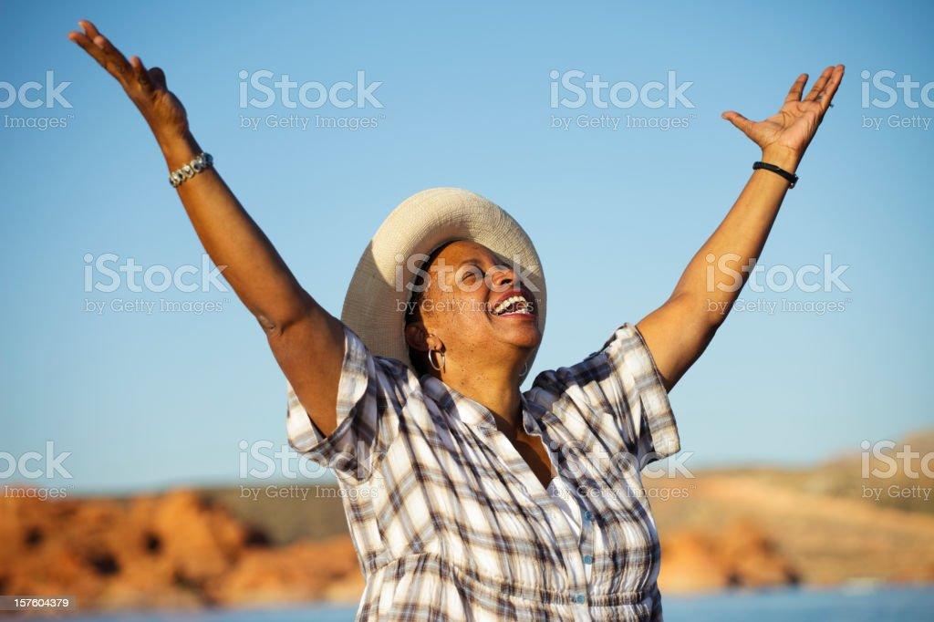 Woman Praising royalty-free stock photo