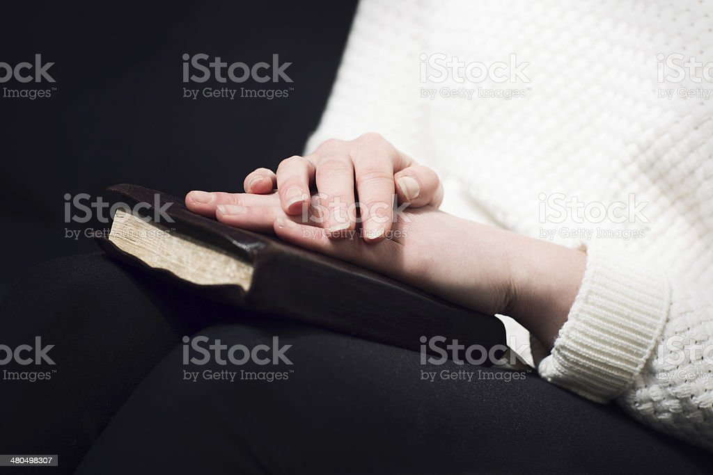 Woman pray with bible royalty-free stock photo