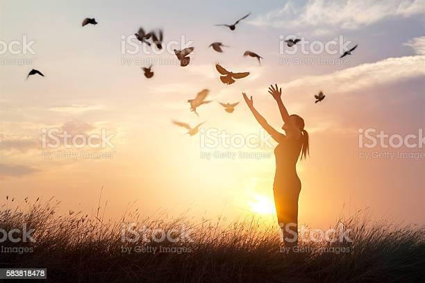 Woman praying and free bird enjoying nature on sunset background picture id583818478?b=1&k=6&m=583818478&s=612x612&h=mw2qze a3bqxkn81jb 4nqz 0 s5axsdgotp jychxm=