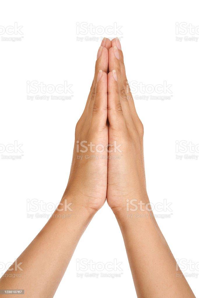 Woman praying hands royalty-free stock photo