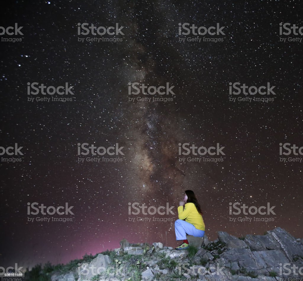 A woman Praying under the Milky Way in Night sky  in Tibet stock photo