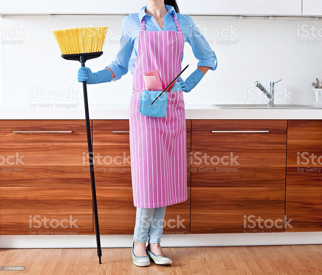Woman Prepared to Clean House royalty-free stock photo