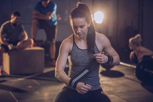 Woman preparing for training stock photo
