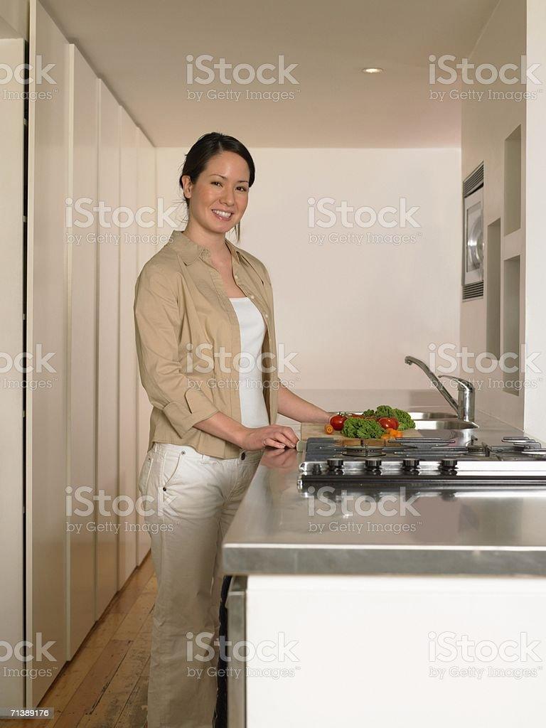 Woman preparing vegetables royalty-free stock photo