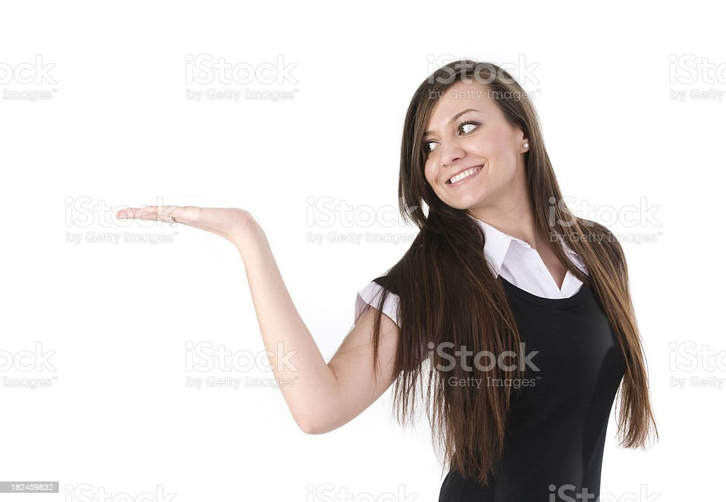 woman presenting product royalty-free stock photo