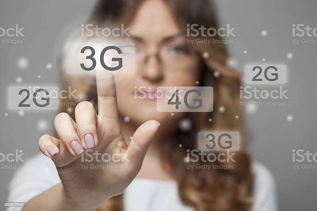 woman pressing 3g touchscreen button stock photo
