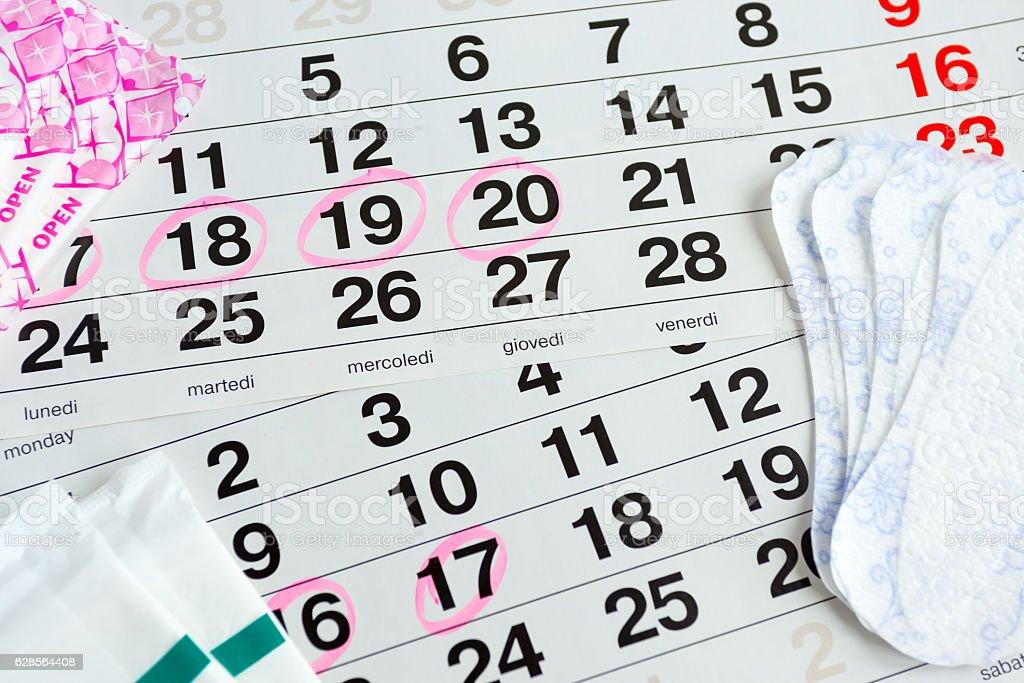 Woman protecting health , menstruation days stock photo