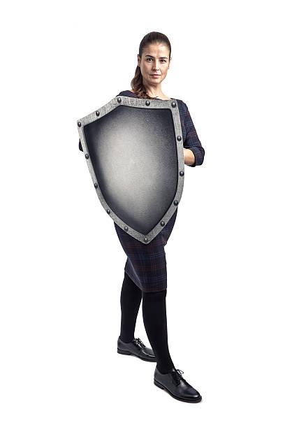 Femme elle-même avec une couche de protection - Photo