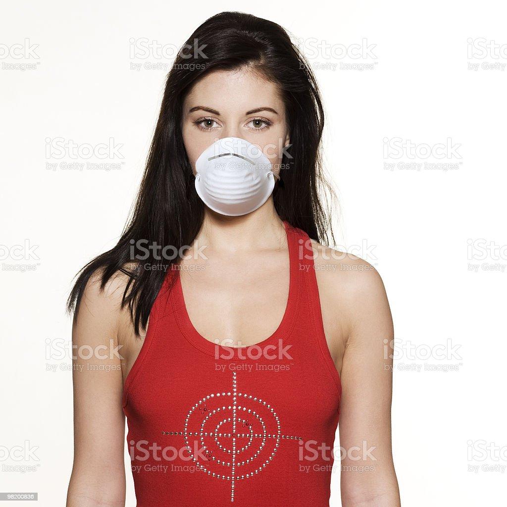 Donna in maschera di protezione virus destinazione foto stock royalty-free