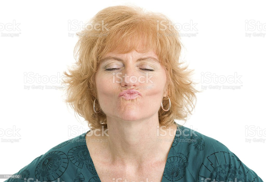 Woman Puckers For Kiss stock photo