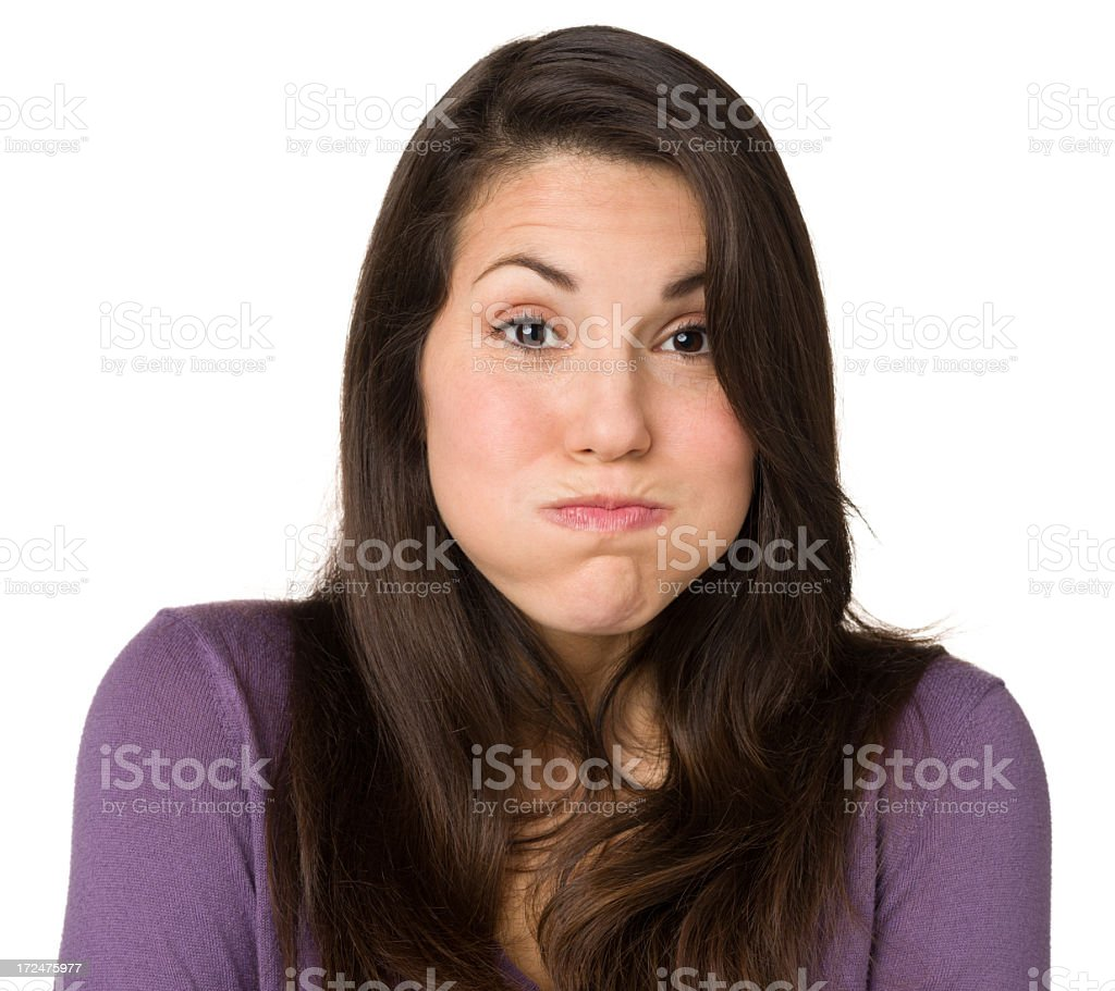 Woman Puffing Cheeks stock photo