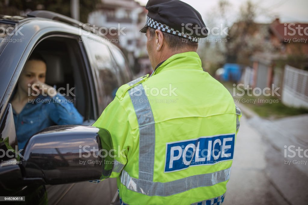 Woman pulled over by police stock photo