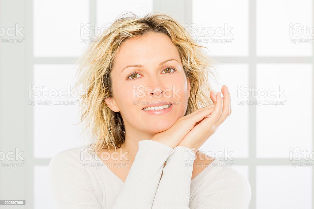 Woman, purity and skin care. stock photo