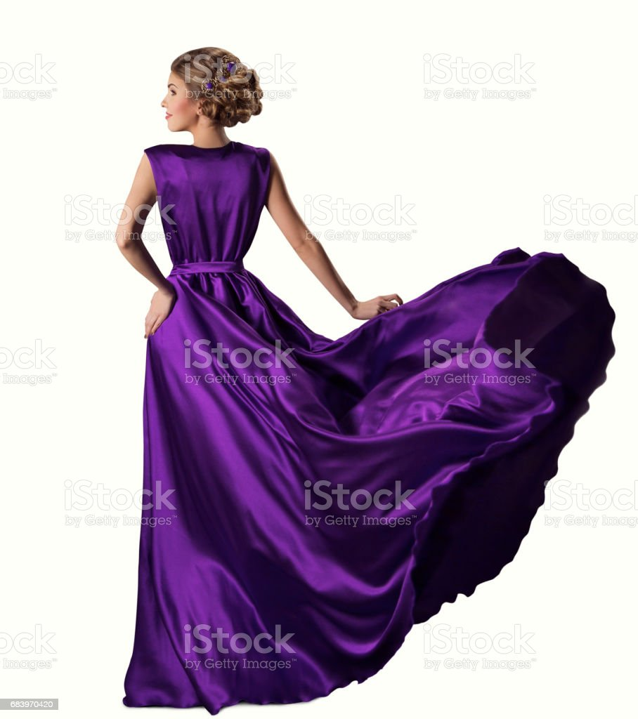 Woman Purple Dress, Fashion Model in Silk Gown, Waving Flying Fabric, White Background – Foto