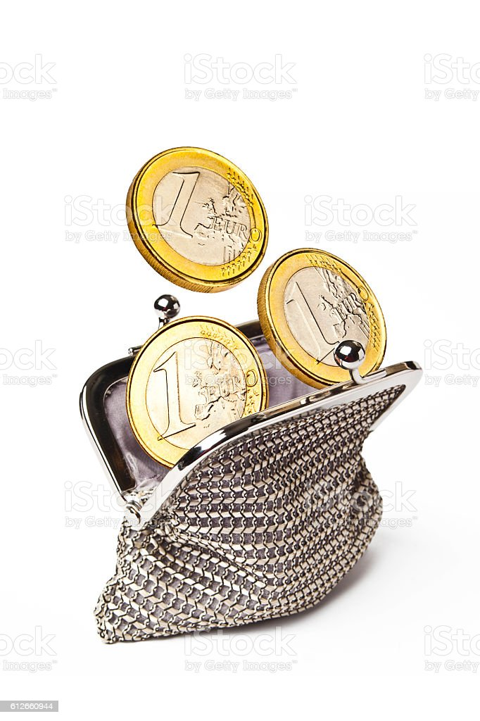 Woman Purse with 3 Euros Coins stock photo