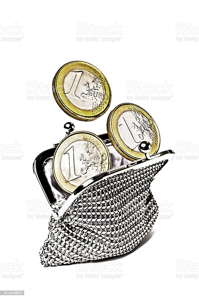Woman Purse with 3 Euros Coins stock photo