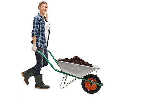woman pushing a wheelbarrow with dirt - kruiwagen met gereedschap stockfoto's en -beelden