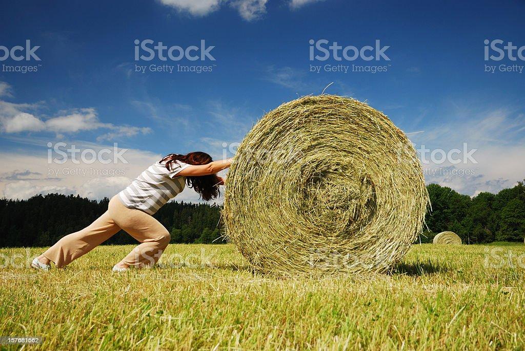 Woman pushing straw bale on royalty-free stock photo