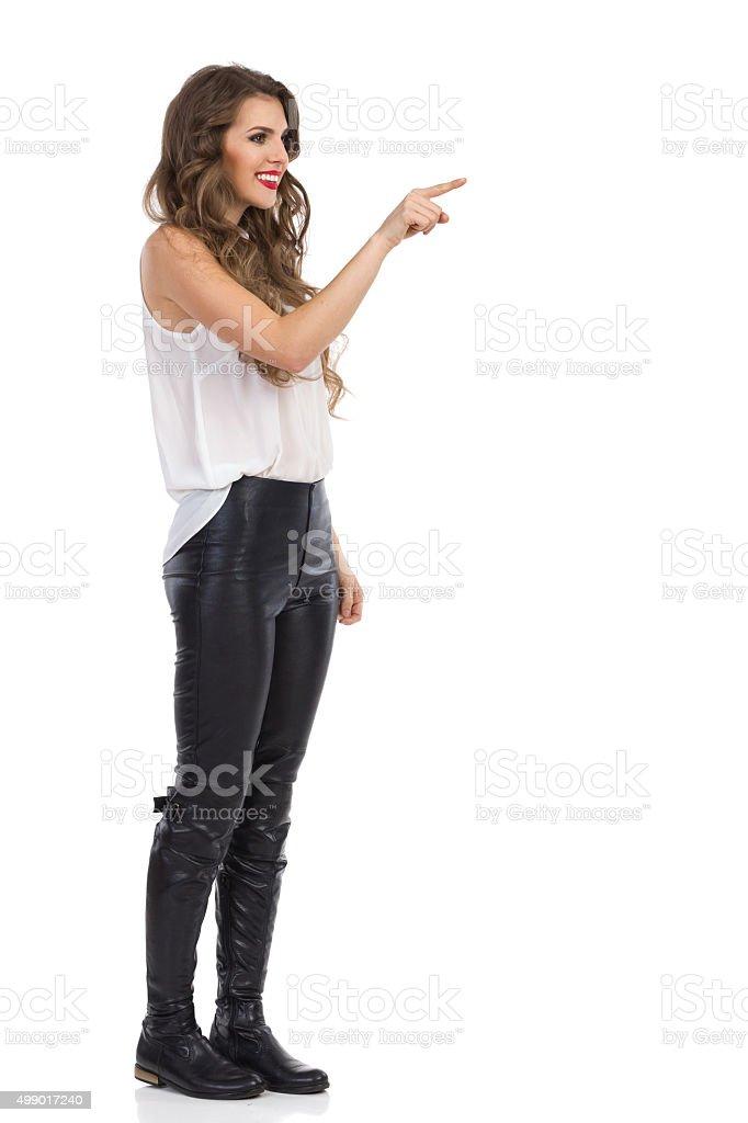 Woman Pushing Virtual Button stock photo