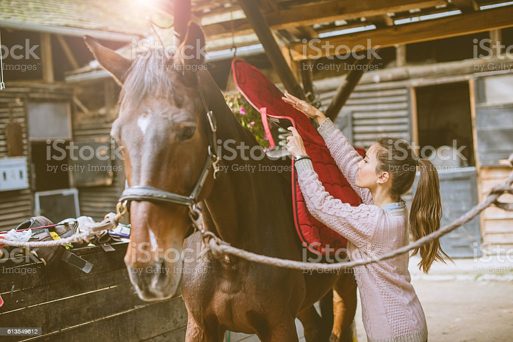 Woman putting saddle on her horse stock photo