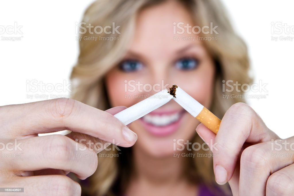 Woman quitting smoking royalty-free stock photo