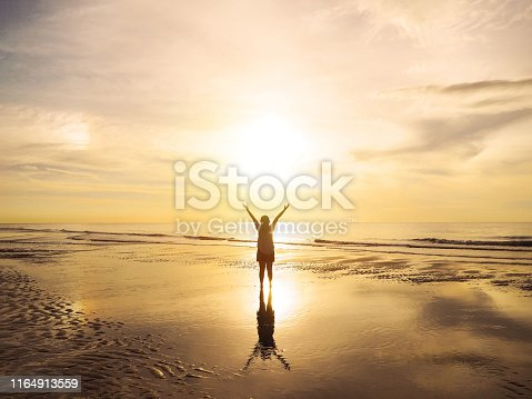 Back view Asian woman raised arms on air at sunset sea. Happy girl feel free on holiday vacation at summer beach .