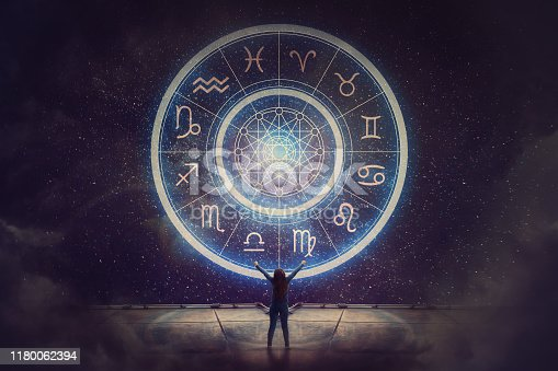 810006098 istock photo Woman raising hands looking at the night sky. Astrological wheel projection, choose a zodiac sign. Trust horoscope future predictions, consulting stars. Power of universe, astrology esoteric concept. 1180062394