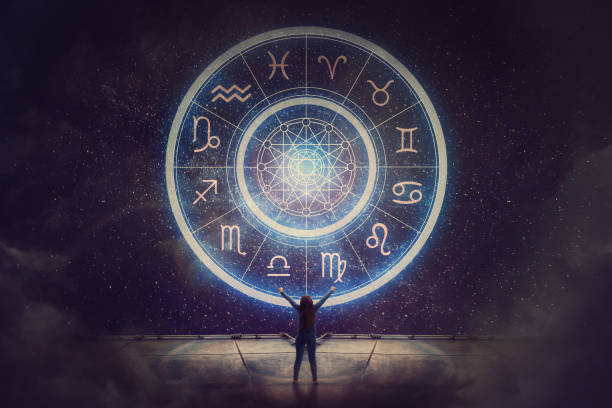 woman raising hands looking at the night sky. astrological wheel projection, choose a zodiac sign. trust horoscope future predictions, consulting stars. power of universe, astrology esoteric concept. - astrologia imagens e fotografias de stock