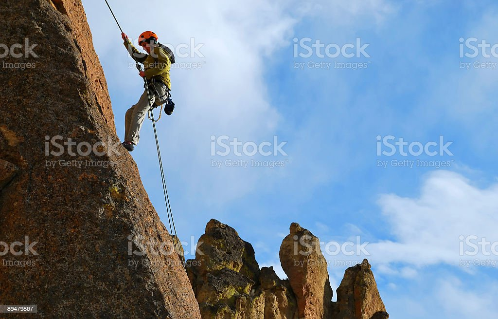 Woman Rappelling royalty-free stock photo