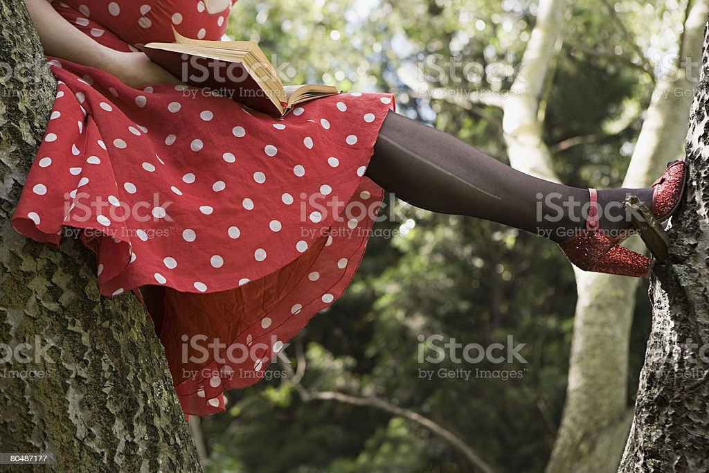 Woman reading a book in a tree 免版稅 stock photo