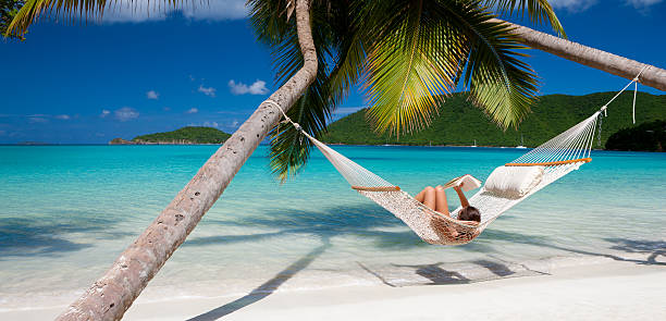 woman reading a book in hammock at the caribbean beach - hangmat stockfoto's en -beelden