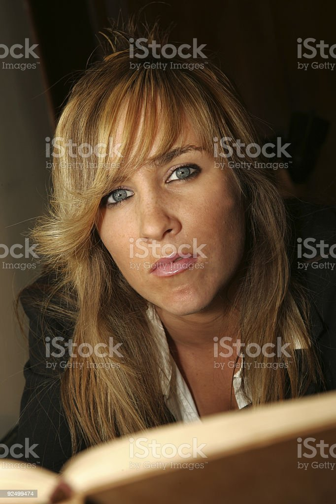 Woman reading book royalty-free stock photo