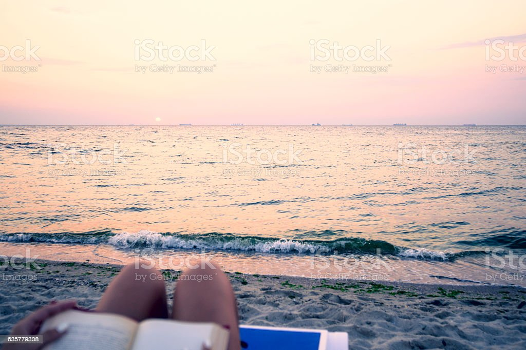 Woman reading book relaxed in deck chair stock photo