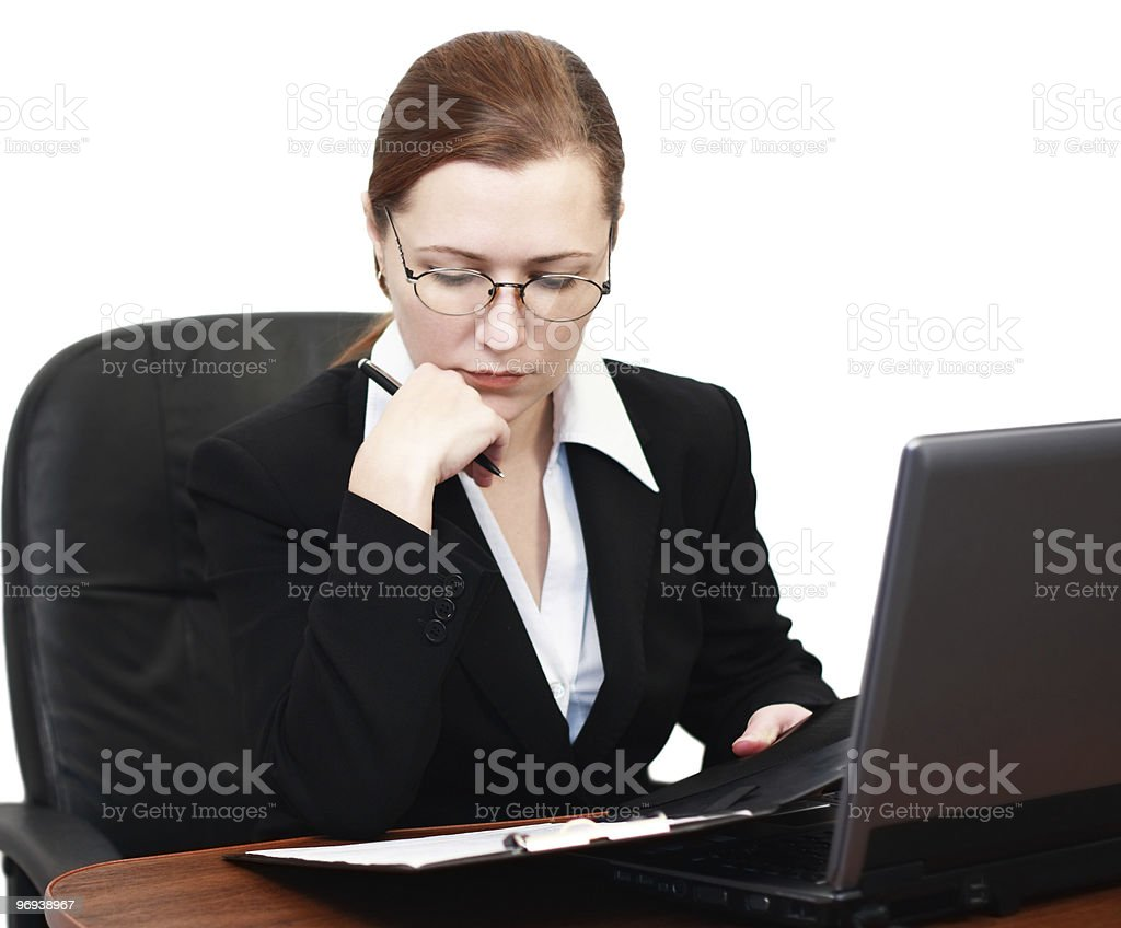 woman reading documents royalty-free stock photo