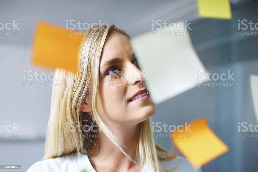 Woman reading her adhesive notes royalty-free stock photo