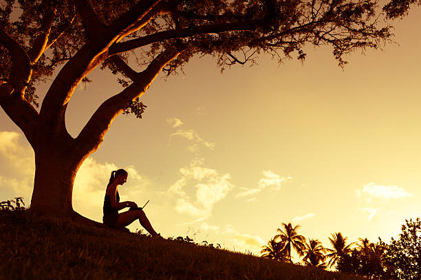 Silhouette Sad Woman Sitting Under Tree Stock Photo (Edit