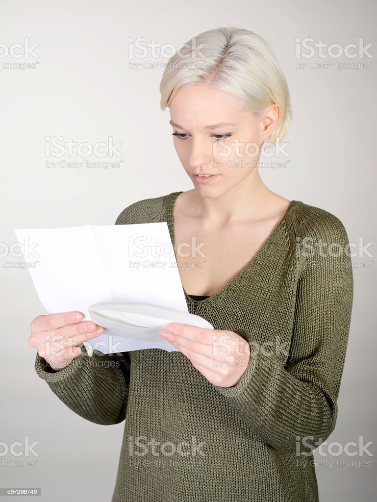 woman reading letter royalty-free stock photo