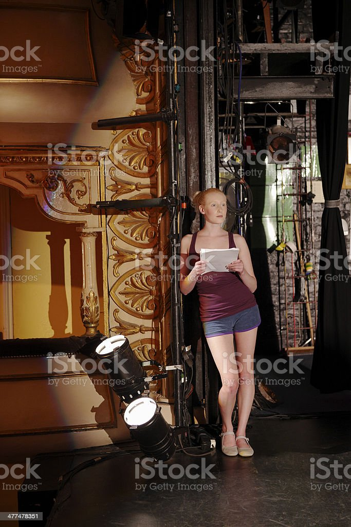 Woman Reading Script Backstage stock photo