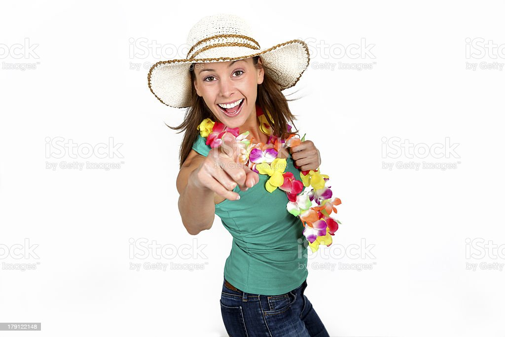 Woman ready for holidays showing at camera royalty-free stock photo