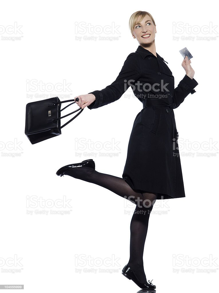 woman ready for shopping happy holding credit card stock photo