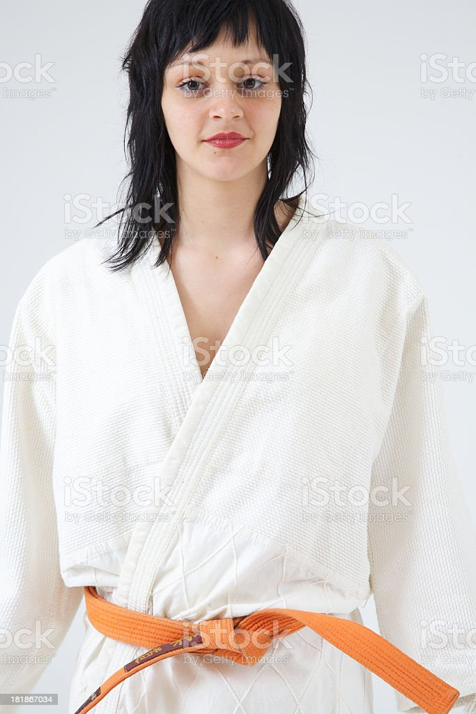 Woman ready to fight royalty-free stock photo