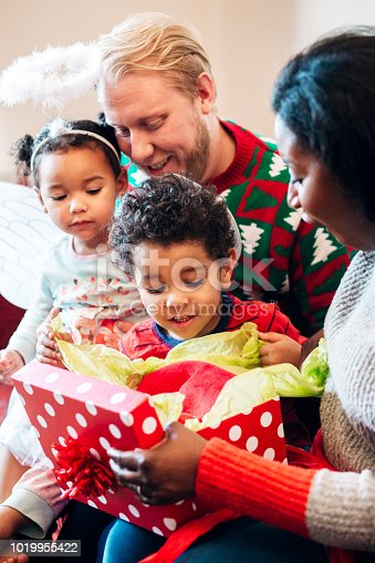 istock Woman Receives a Gift from her Children at Christmas 1019955422