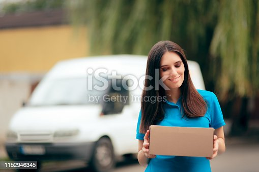 506662064istockphoto Woman Receiving a Package with Free Shipping Courier Delivery 1152946345