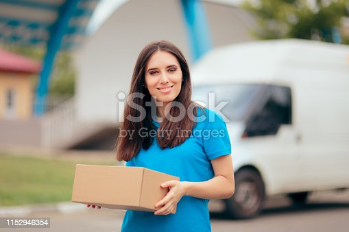 506662064istockphoto Woman Receiving a Package with Free Shipping Courier Delivery 1152946354