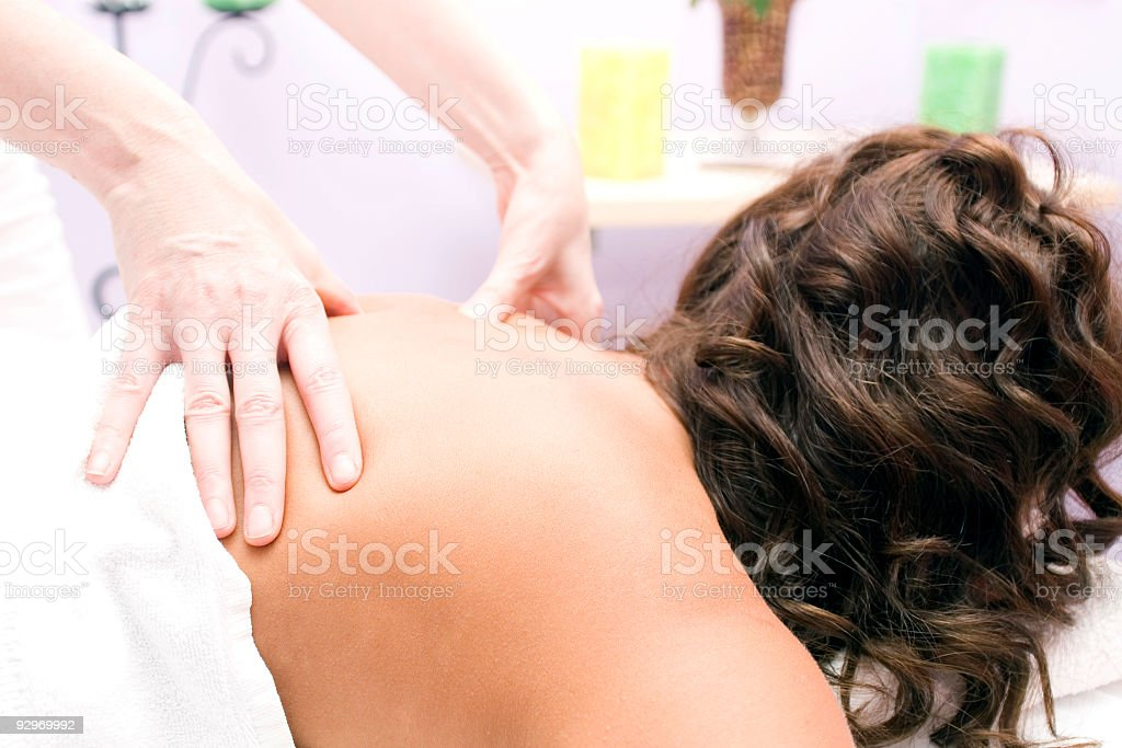 Woman Receiving Massage royalty-free stock photo