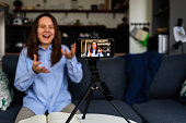 istock Woman Recording video for blog 1219343932