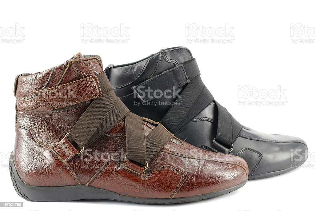 woman red and black leather shoes royalty-free stock photo