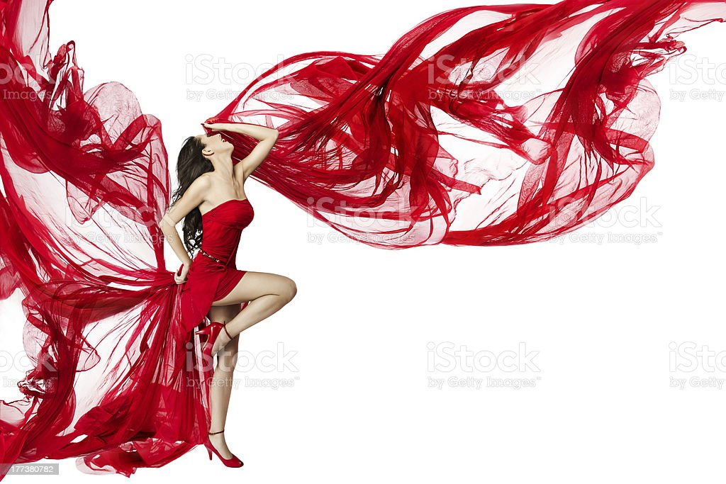 26b4cd07d4fe Woman Red Dress flying wind, Fashion Beauty Model Dancing White - Stock  image .