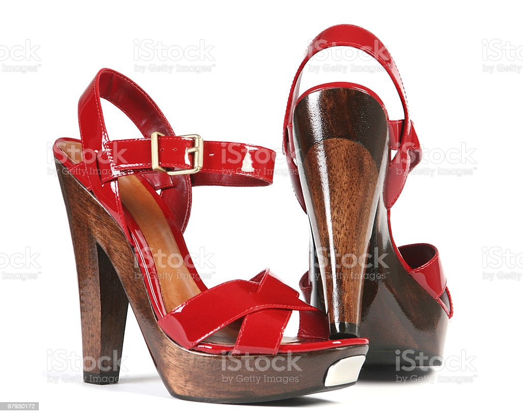 Woman red shoes royalty-free stock photo