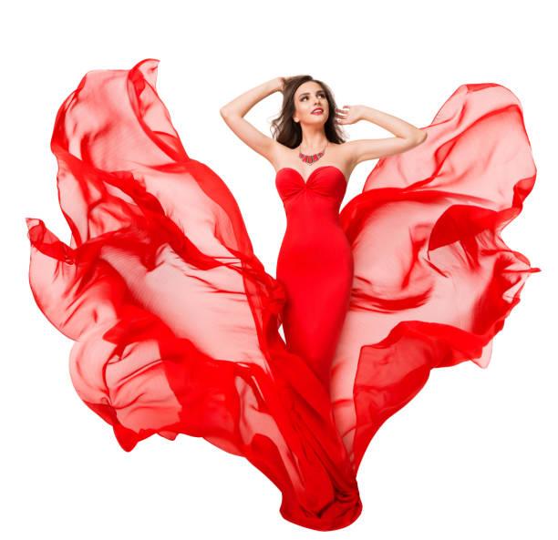 Woman Red Silk Dress Fluttering on Wind, Fashion Model Beauty, Blowing Waving Cloth stock photo